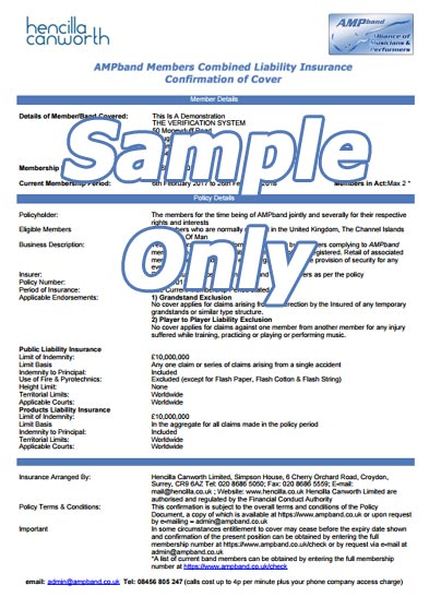 PLI certificiate sample